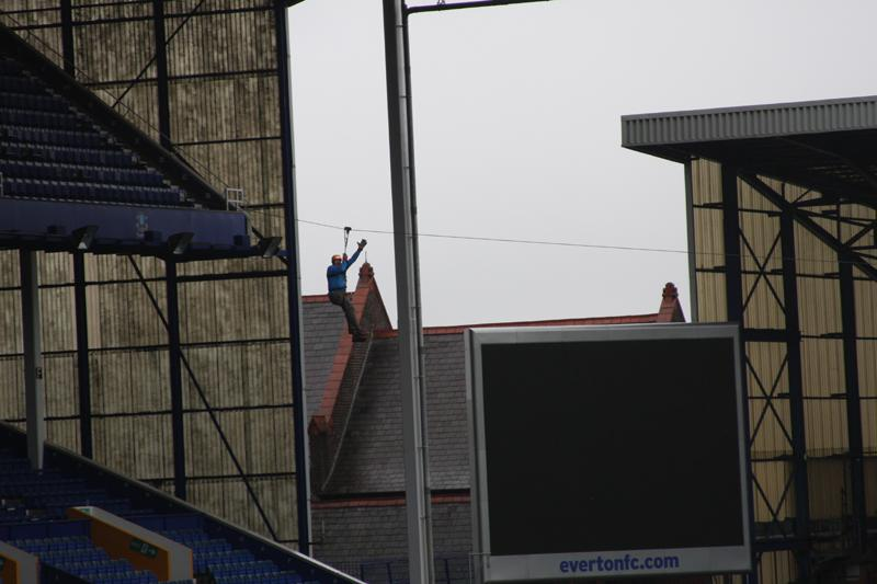 President Elect, Bill Thomas Braves the terrors of Goodison Park. - Bill Thomas Zip Wire 4