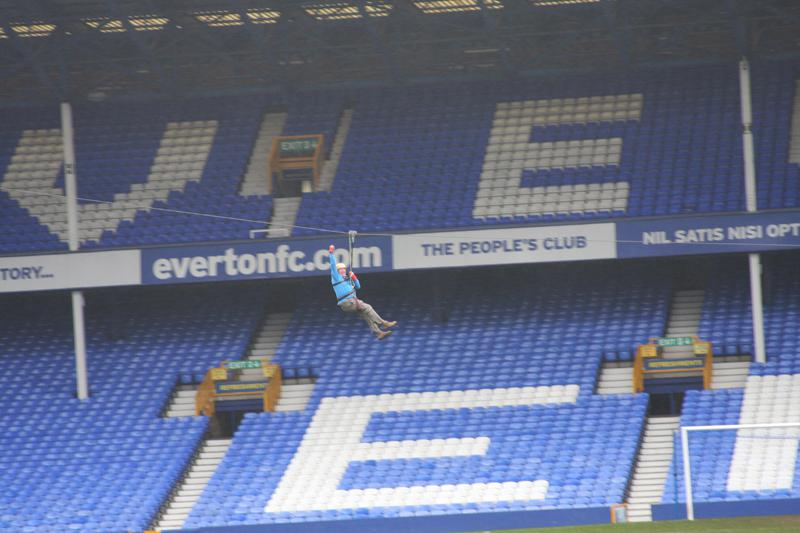 President Elect, Bill Thomas Braves the terrors of Goodison Park. - Bill Thomas Zip Wire 5