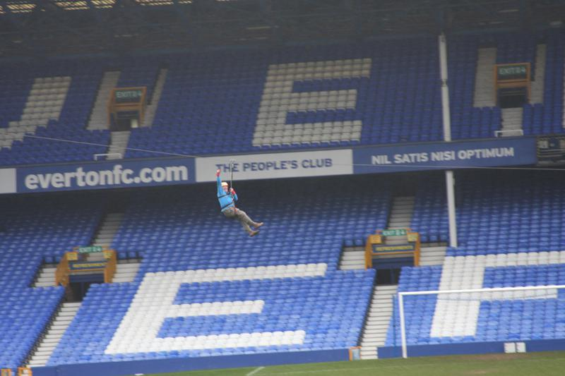 President Elect, Bill Thomas Braves the terrors of Goodison Park. - Bill Thomas Zip Wire 6