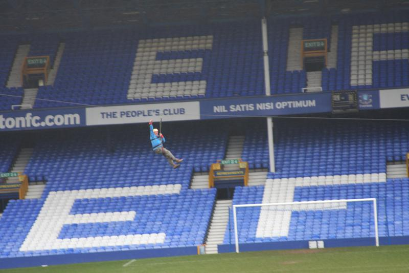President Elect, Bill Thomas Braves the terrors of Goodison Park. - Bill Thomas Zip Wire 7