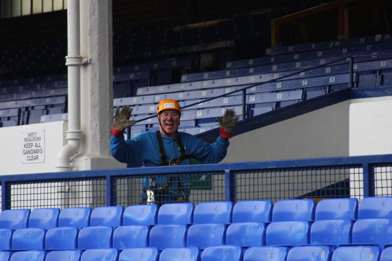 President Elect, Bill Thomas Braves the terrors of Goodison Park. - Bill Thomas Zip Wire 9