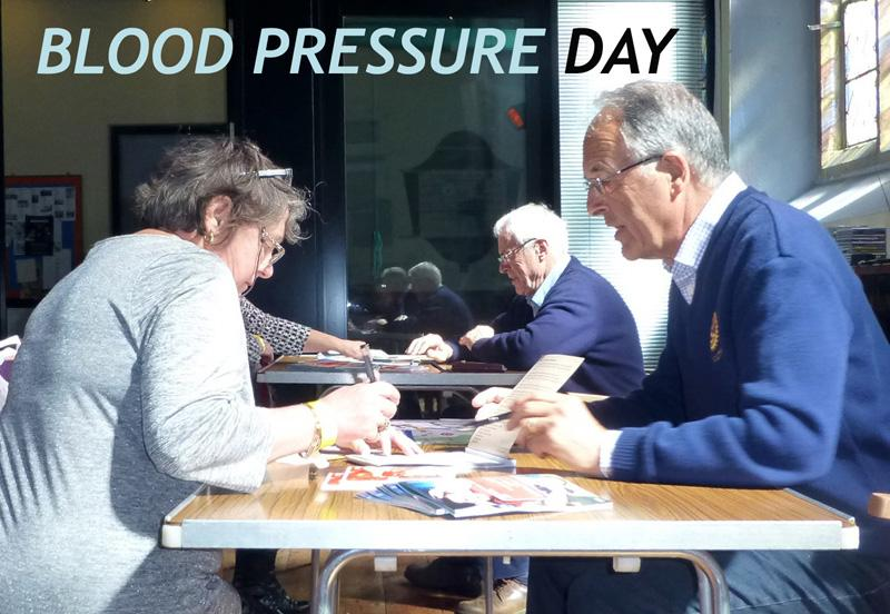 Help for others - Blood Pressure Day 2015 when we encouraged over 100 local people to have their blood pressure checked professionally - free of charge