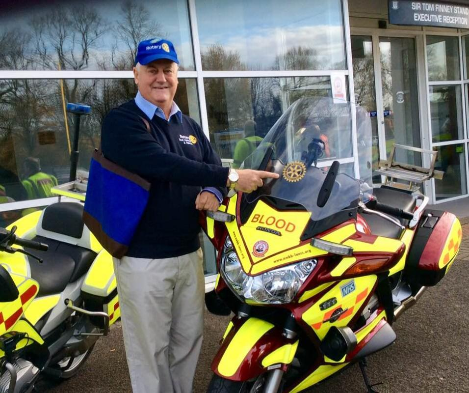 Blood Bikes - Rotary in Lancashire and Cumbria have together raised £38,000 to buy two Motorcycles to be used by the Blood Bikes group.