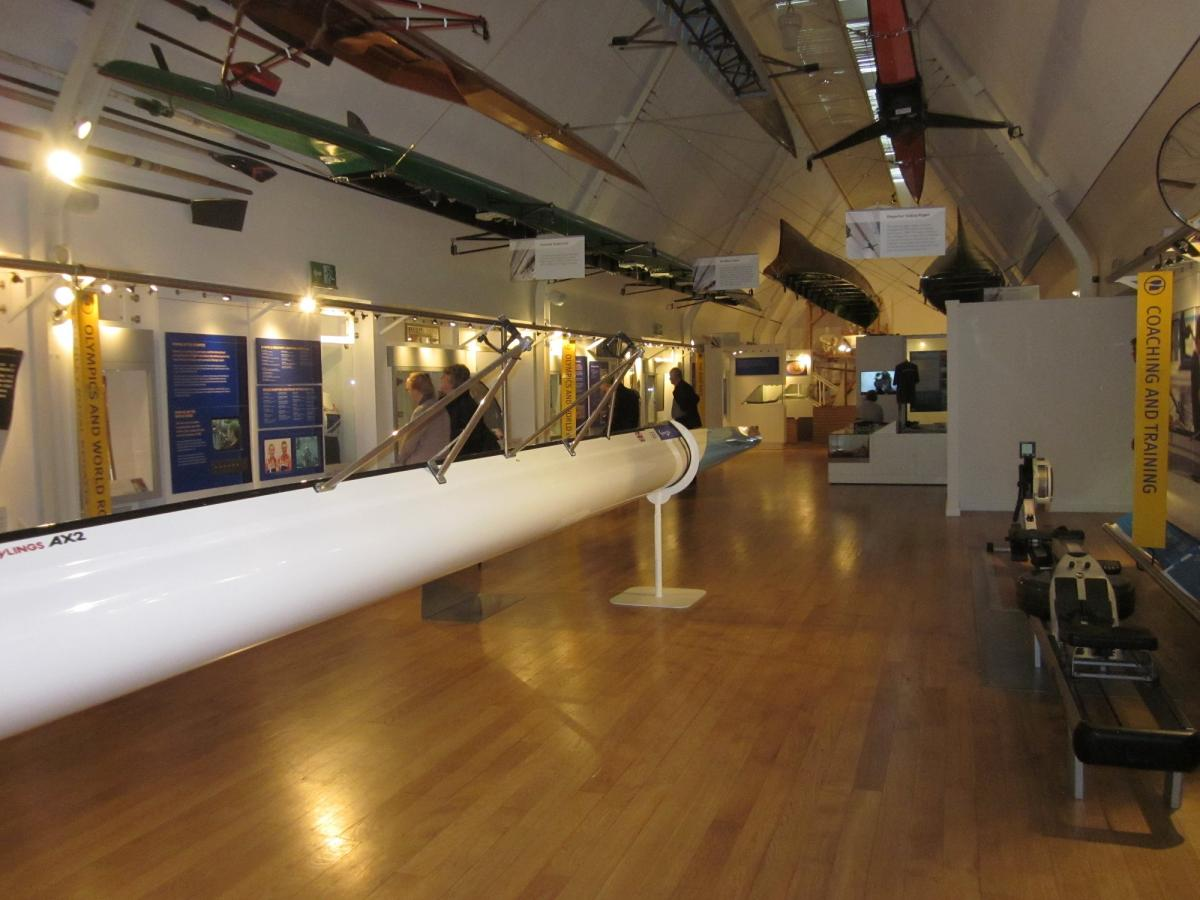 Visit to Henley River and Rowing Museum May 2016 - Numerous boats hung overhead and around us, each with their own history, sometimes at Henley, some for an adventure as amazing as round the world!