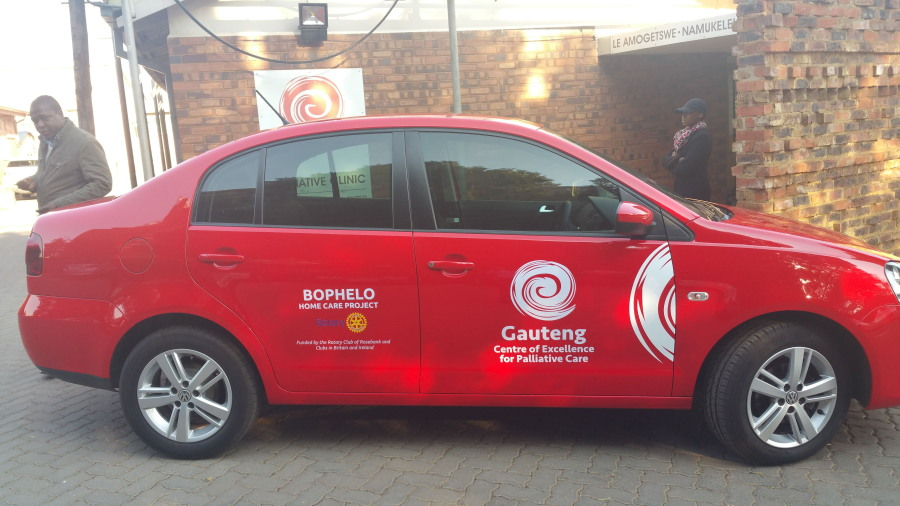 The Baragwanath Palliative Care Project - This car, with a Rotary Logo and the name of the Health Authority, is used to support patients in their homes.