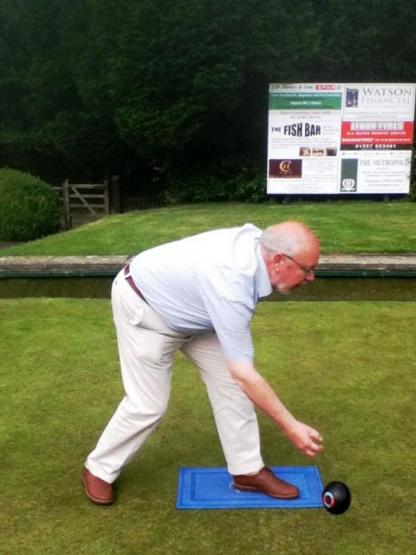 We compete in the District Bowls competition - Norman in action