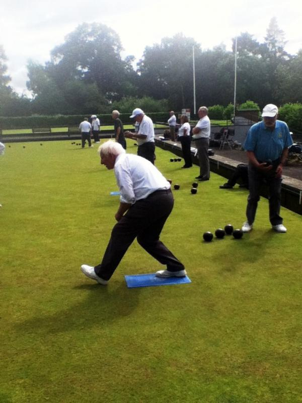 We compete in the District Bowls competition - Adam in action