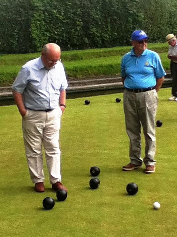 We compete in the District Bowls competition - Norman contemplating