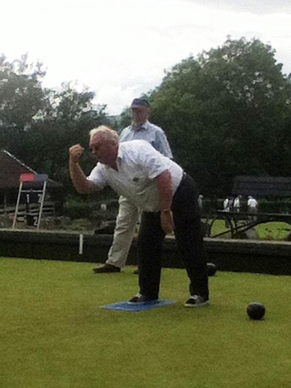 We compete in the District Bowls competition - Paul in action