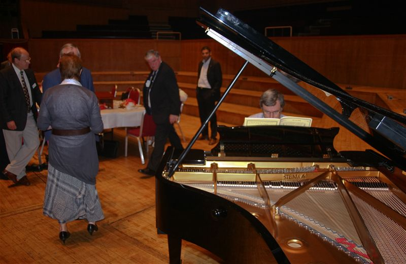 Breakfast on the Stage - Ian tries out the wonderful new Steinway Grand piano.