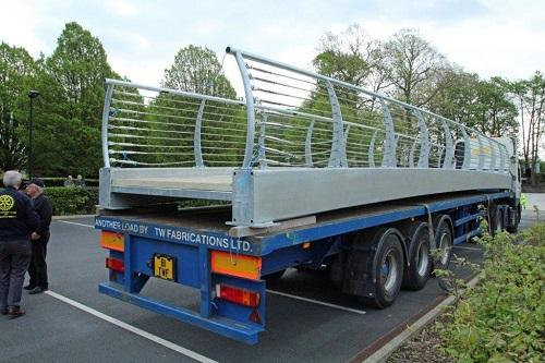 St Catherines Hospice Footbridge Construction - The constructed bridge on the low loader awaiting being lifted into place.