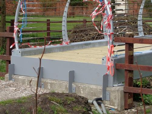 St Catherines Hospice Footbridge Construction - Baffle fitted to bridge