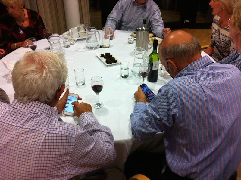 Presidents Weekend at RNLI Poole 3 - 5 October - Playing with their phones - at their age!