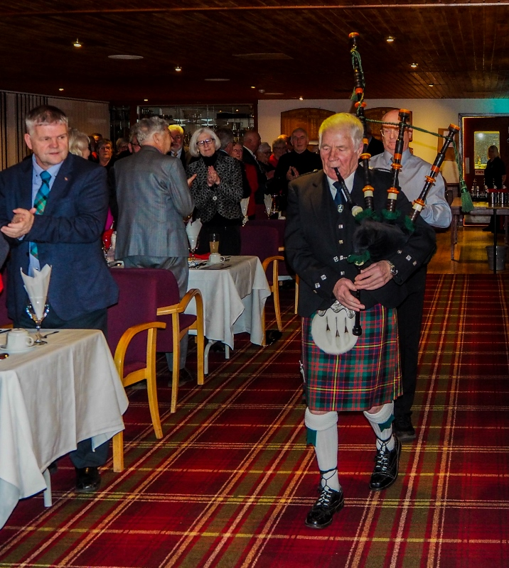 A Burns Supper with a difference - Vic Ramage pipes in the haggis