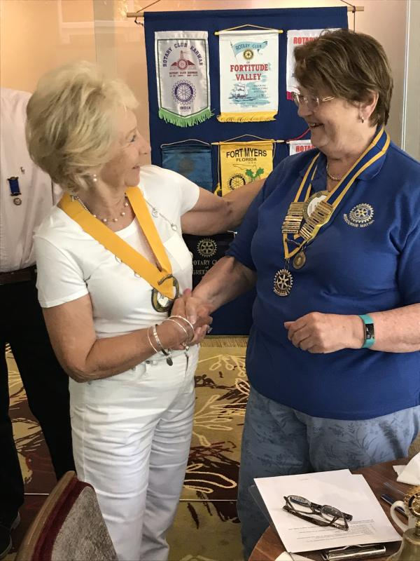 Club Handover 2019 - Helen with President-Elect Judy