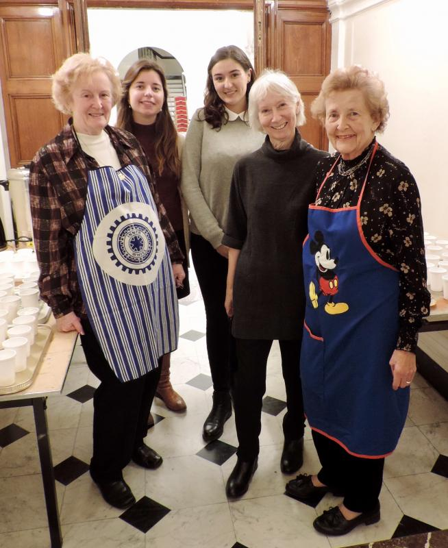 Our Club, our history and our Rotarians - The Inner Wheel Club of Westminster and Chelsea has supported our Rotary Club for many decades. Photo: IW Members helping stock the annual Senior Citizens Concert interval snacks.