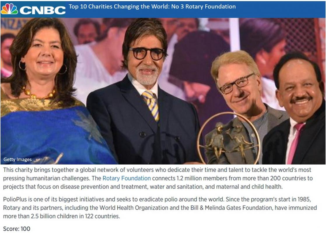 The Rotary Foundation - CNBC 2016 List of Top 10 Charities Changing the World. Number 3: Rotary Foundation