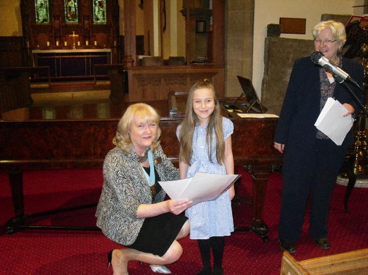Young Musician 2015 - District Final - DG Jean Thompson presents Caitlin with her certificate from District 1030