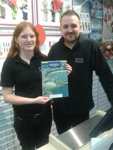 Tenby Charity Calendar on sale in Capital City - Helen and Oliver of the Calendar Club outlet, St David's 2, Cardiff