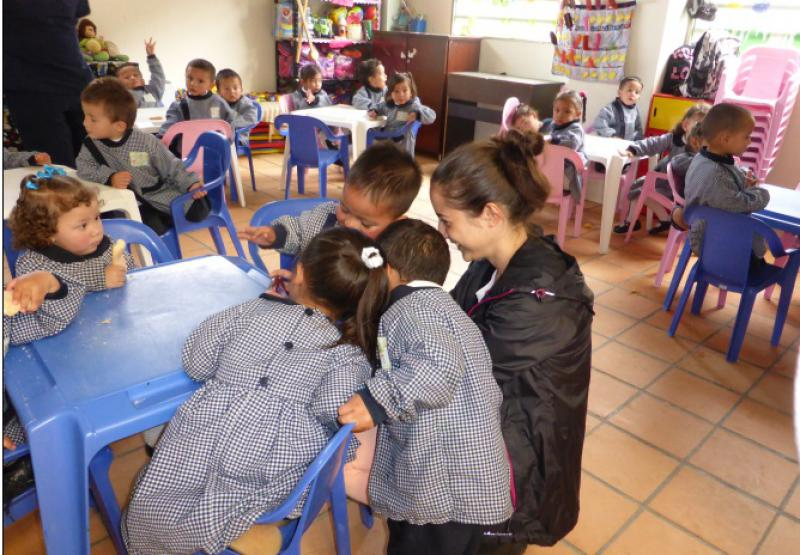 Bogota Appeal in Pictures - President Elect Peter Ball's family engage with the children.