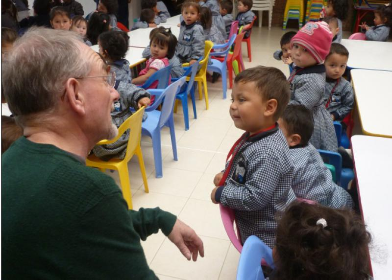 Bogota Appeal in Pictures - President Elect Peter Ball engages with the children.