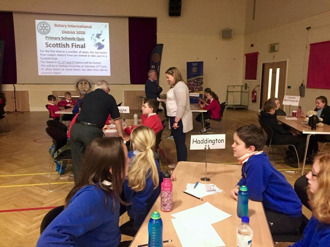 Presentation of Rotary Quiz Cup to Haddington Primary School - The Team at the Scottish final in Carluke