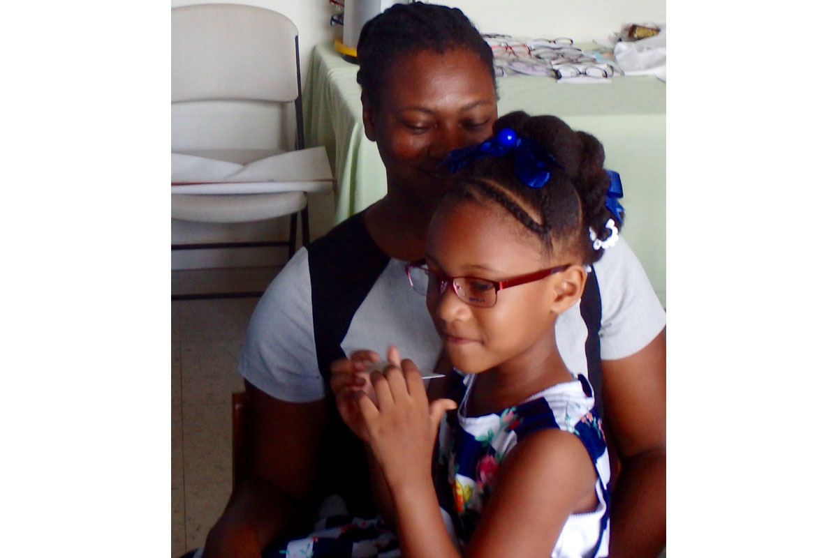 Children's Eye Test Programme, Carriacou - A patient receives treatment