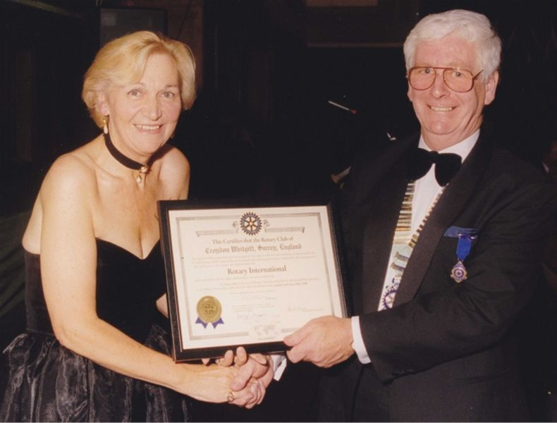 Club Charter Night - Toni Letts receives Club Charter from Keith Waller