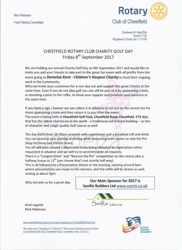 Charity Golf Day Friday 8th SEptember 2017 -