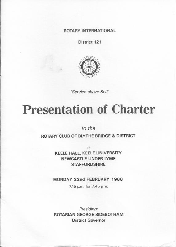 Our Club History - Charter Presentation Cover