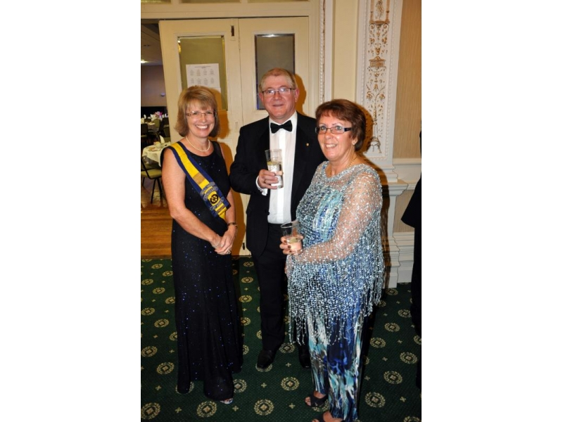Charter 2016 - Sergeant at Arms Rotarian Carol Parkinson with Club Secretary Rotarian Paul Barnes and Katherine.