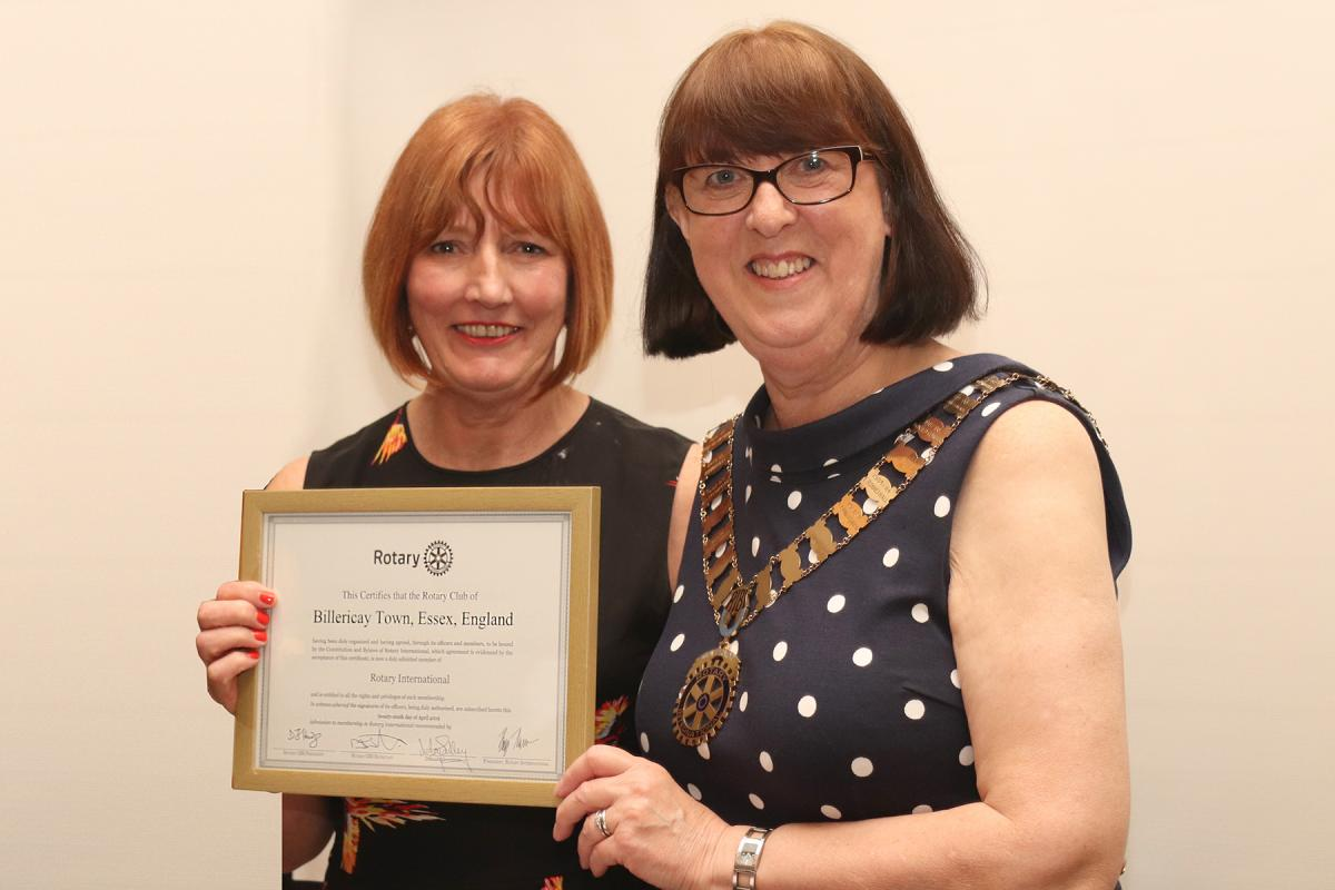 Billericay Town Rotary Club - Presented to Lynn  by DG Lesley Sulley