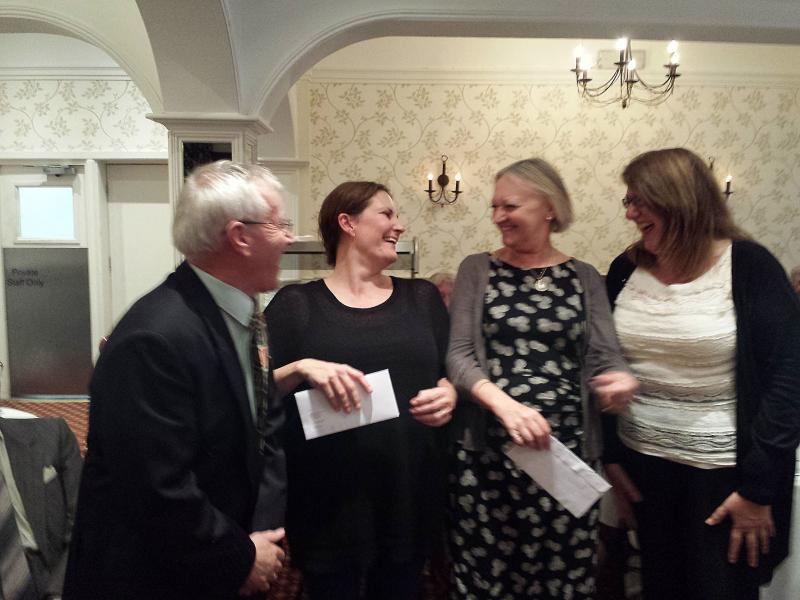 DONATIONS,  PRESENTATIONS AND OTHER SPECIAL OCCASIONS - (L-R) Rotarian Dave Smith has presented cheques to Emma Larter of Honeypot and Ailsa Walter and Jackie Davies of 'Gift of Sight'.