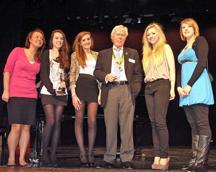 3 March 2011 - Bursary cheque presented to Choir Competition winners - Amersham Rotary Club President Chalmers Cursley with members of the winning choir Vocalessence.