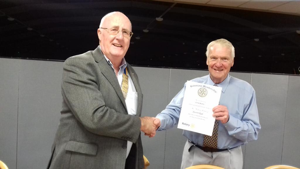 Chris receives Honorary Membership of The Rotary Club of Melcombe Regis -