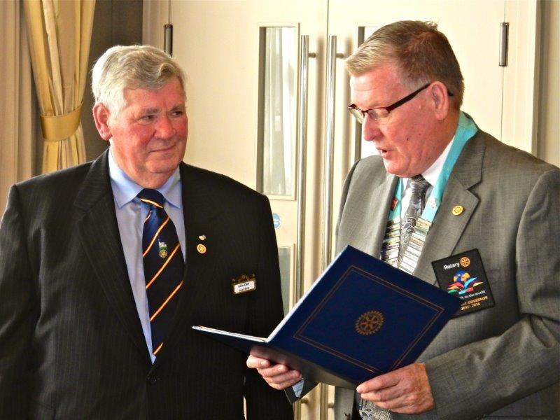 Chris clark's 50th Anniversary in Rotary - Chris and Fred - Presentation of the Certificate