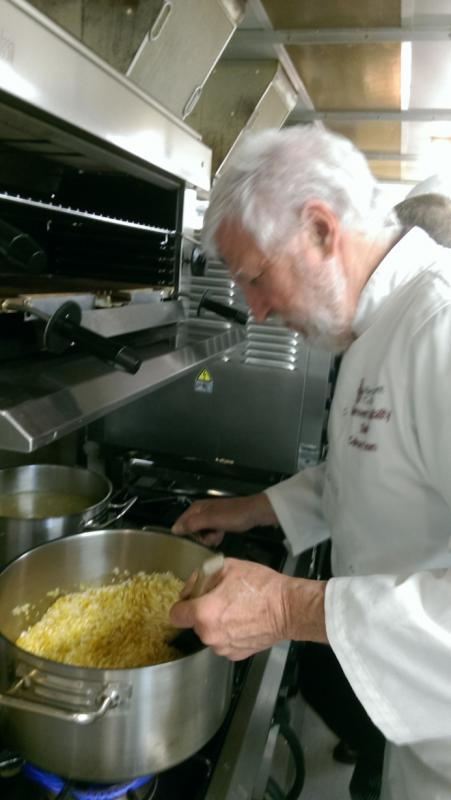 Charity Dinner at Brockenhurst College - Chris concentrates on preparing the risotto