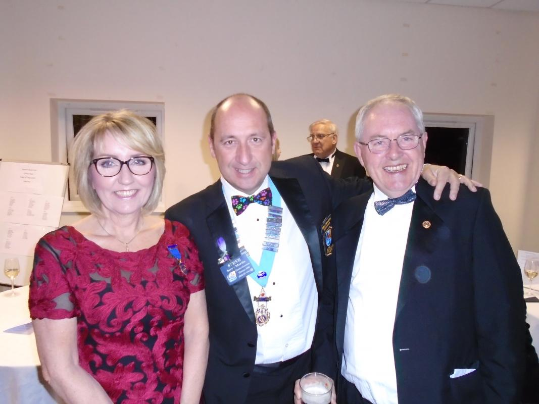 Nantwich Rotary 85th Charter Night - DG Steve Martin with Christine Crowe and Tony Coxhill
