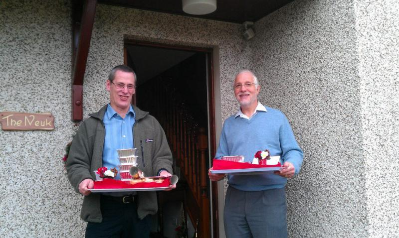 Christmas lunch delivery - Dave Carr and David Gillespie