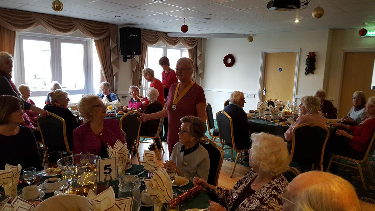 Shanklin Rotary Club Hosts Senior Citizen Christmas Lunch - President Lyn Fleming welcomes the guests