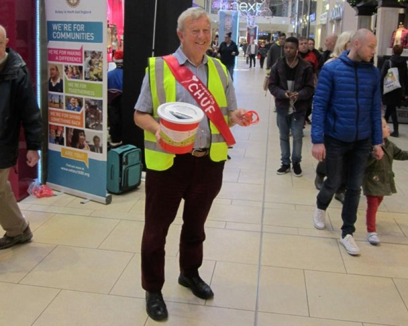 Christmas Street Collection - President Peter Tracey with bucket and sash