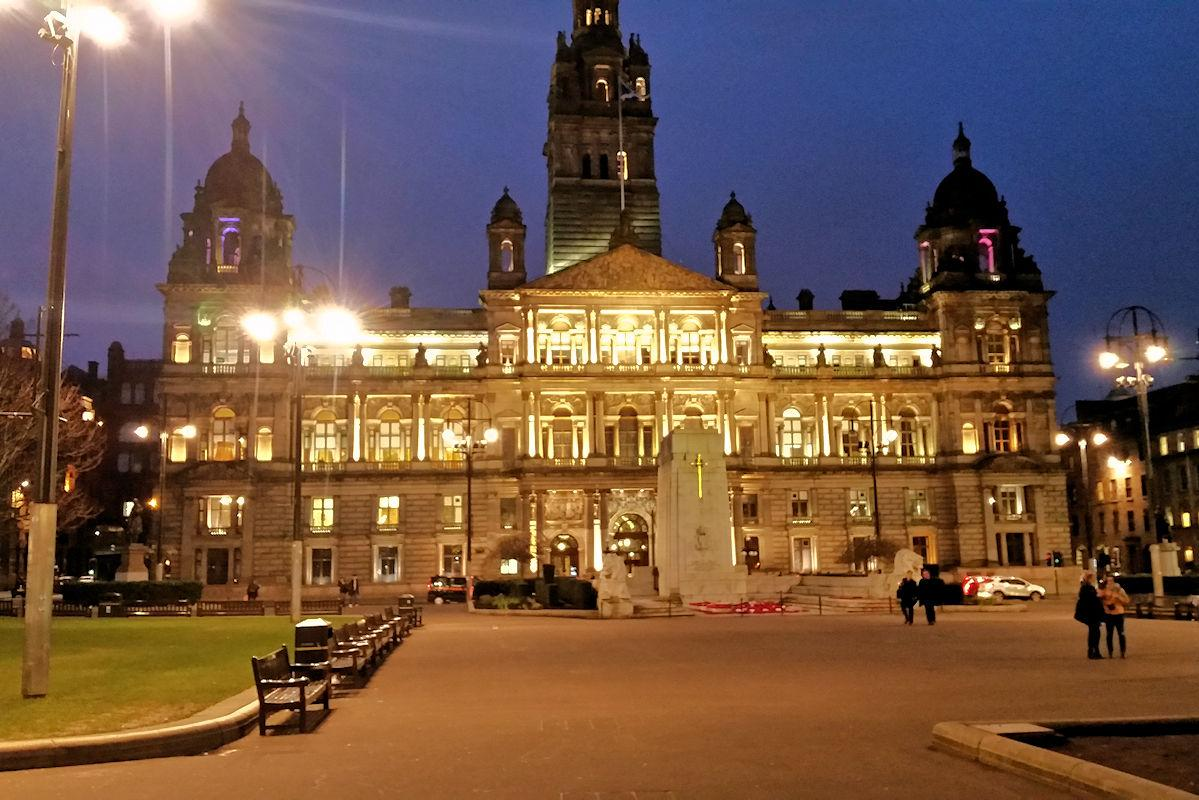 Foundation Centenary Dinner - Glasgow's George Square and the City Chambers Building where the Dinner was held.