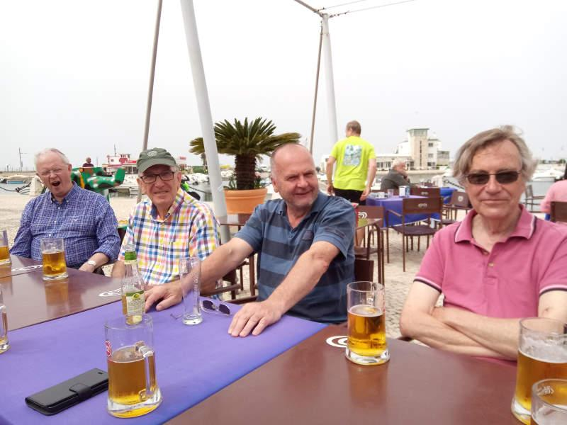 Visit to Rotary e-club in Olhao, Portugal in 2018 - Clearly sitting next to Mike Hiles has sent Mike Webb to sleep