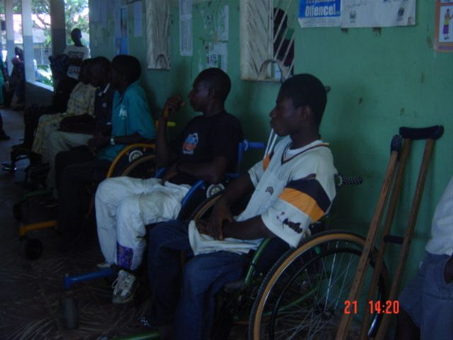 August 2009 wheelchair exhibition in Koidu - Client Koidu