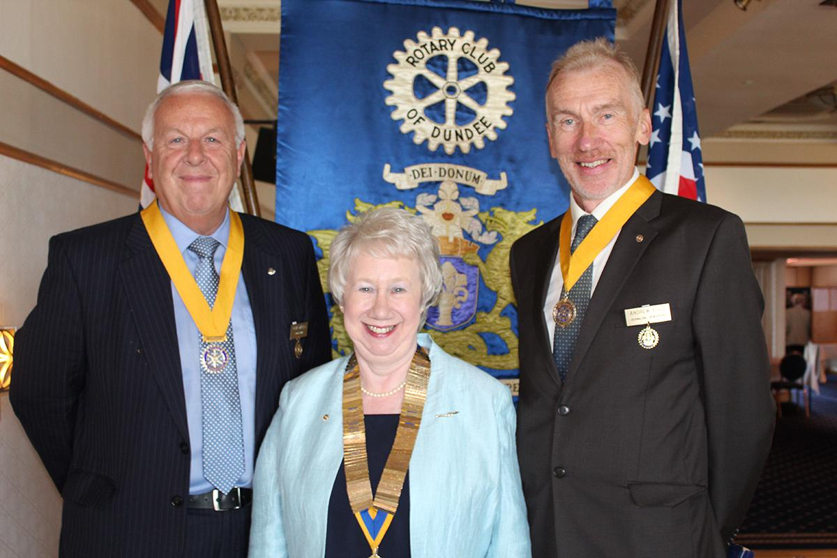 Dundee Rotary Club appoints first female president - President Elect Clive Murray, President Mary Crighton and Vice-President Andrew Argo