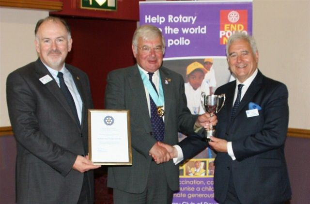 RIBI PR Trophy 2010/2011 - President Sam Alder (right) receives the RIBI PR Trophy for 2010/11 from DG Elect Colin Ince together with Rotarian Kevin Kneen who led the Club's End Polio campapaign.