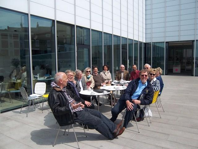 Contact Clubs Visit 2012 - Visitors and local Rotarians take coffee on the terrace at The Turner Contemporary Gallery.