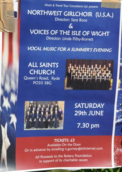 American Northwest Girlchoir and Young Voices of The Isle of Wight Concert 29 06 2013 - Poster advertising concert