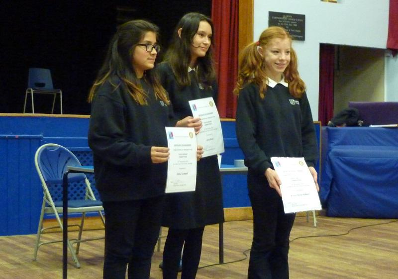 Nov 2013 Rotary Youth Speaks 2014 - Cottenham B with certificates