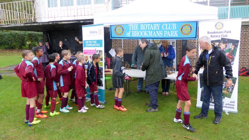 Mount Grace Seven-a-Side Football Tournament - Cranborne receive their trophies from Vice-President David Saunders